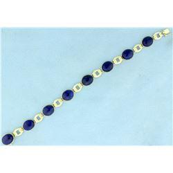 Natural Lapis Lazuli Bracelet in 14K Yellow Gold
