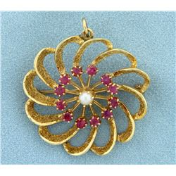 Vintage Ruby and Pearl Pinwheel Pin/Pendant in 14K Yellow Gold