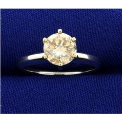 1 1/4ct Champagne Diamond Solitaire Engagement Ring in 14K White Gold
