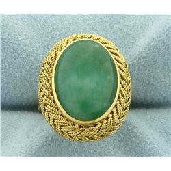 10ct Jade Ring in 18K Yellow Gold