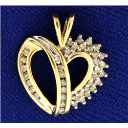 1/2ct TW Diamond Gold Heart Pendant