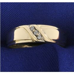 Men's 3 Stone Diamond Gold Band Wedding Ring