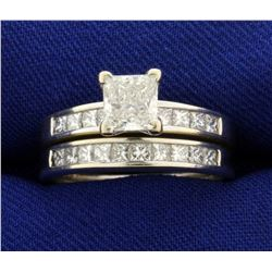 2ct TW Princess Cut Diamond Wedding Ring Set in 14K White Gold