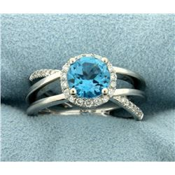 Swiss Blue Topaz and Diamond Ring in 14K White Gold