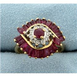 Vintage Natural Ruby and Diamond Ring in 14K Yellow Gold