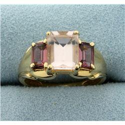 3.5ct TW Natural Morganite Ring in 14K Yellow Gold
