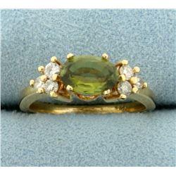 Peridot and Diamond Ring in 14K Yellow Gold