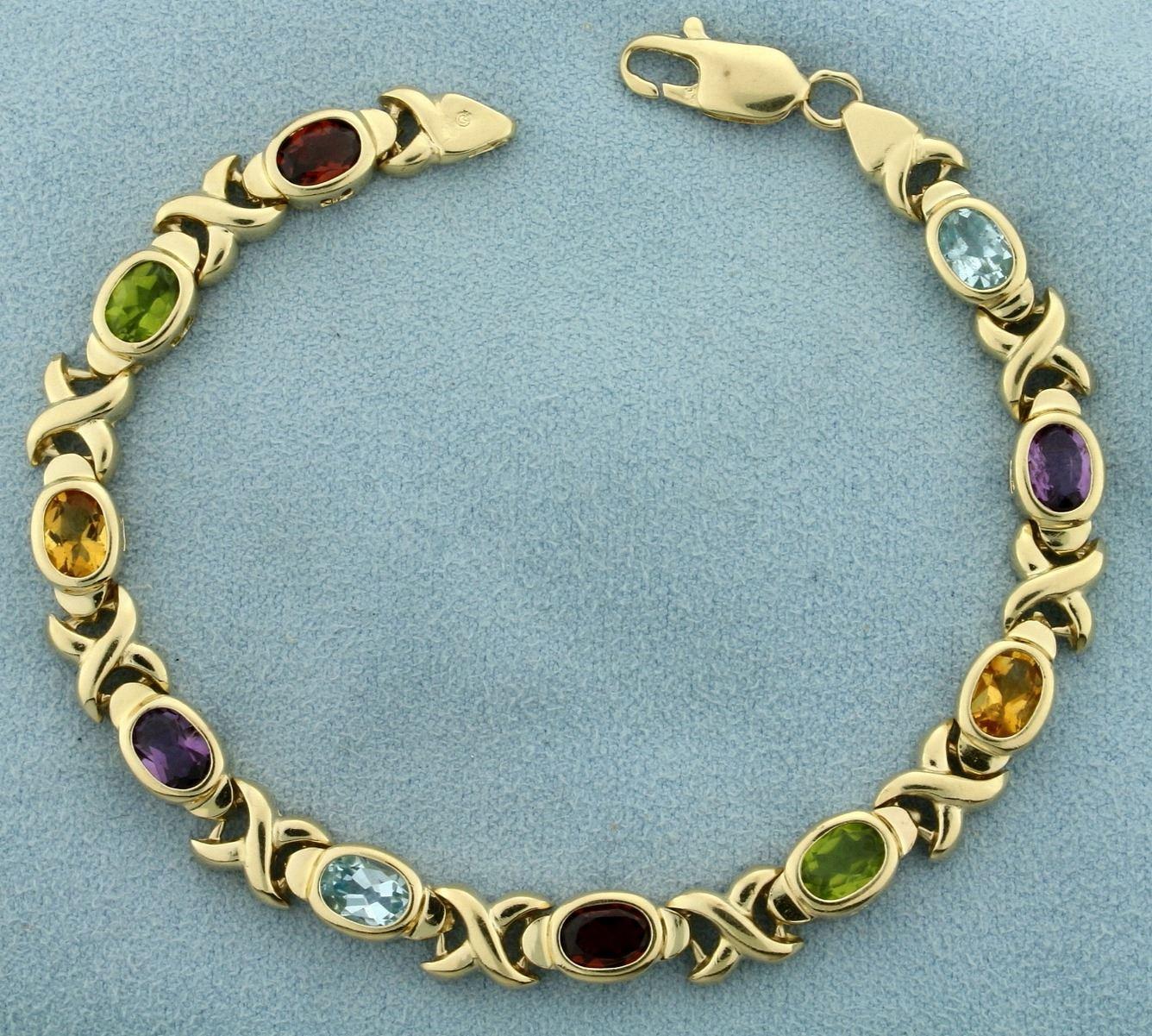 Rainbow Gemstone Gold Bracelet in 14K Yellow Gold