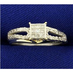 1/3ct TW Diamond Engagement Ring in 10K Yellow Gold and Sterling Silver