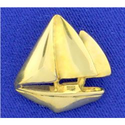Sailboat Pendant in 18K Yellow Gold