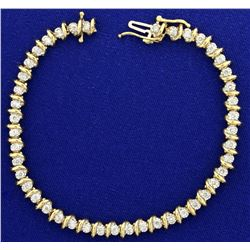 2.5ct TW Diamond Tennis Bracelet in 14K Yellow Gold