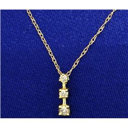 Three Diamond Journey Pendant with Chain in 10K Yellow Gold