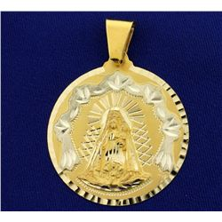 Large Mother Virgin Mary Pendant in 14K Yellow and White Gold