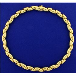 Heavy Italian Made Unique Flexible Designer Link Neck Chain in 18K Yellow Gold
