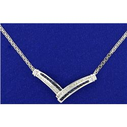 Diamond and Sapphire Necklace in 10K White Gold