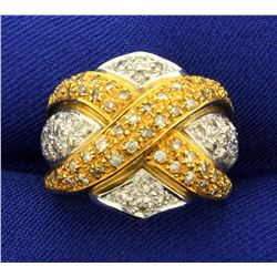 1ct TW Criss Cross Design Diamond Ring in 18K Yellow and White Gold