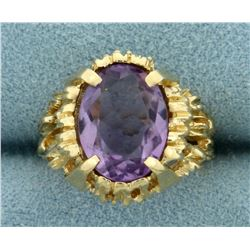 5ct Solitaire Natural Amethyst Ring in 14K Yellow Gold
