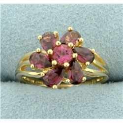 1.75ct TW Natural Pink Tourmaline Ring in Flower Design in 14K Yellow Gold