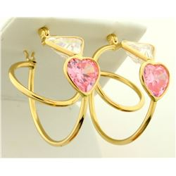 Morganite and CZ Hoop Earrings in 14K Yellow Gold