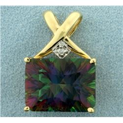 Mystic Topaz and Diamond Pendant in 14K Yellow Gold