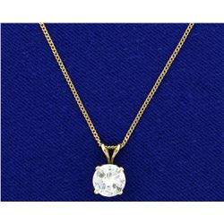 Over 1ct Solitaire Diamond Pendant on Chain in 14K Yellow Gold