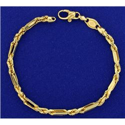 Italian Made Unique Designer Link Bracelet in 14K Yellow Gold