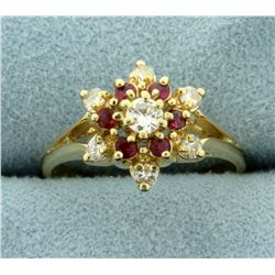 Natural Ruby and Diamond Flower Ring in 14K Yellow Gold