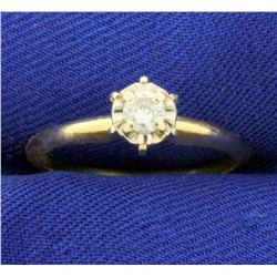 .15ct Solitaire Diamond Engagement Ring in 14K Yellow and White Gold