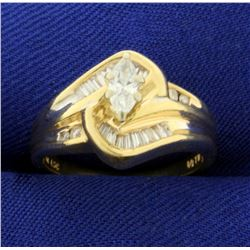 1/2ct TW Marquise Diamond Ring in 14K Yellow Gold