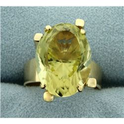 10ct Natural Citrine Statement Ring in 14K Yellow Gold