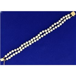 Double Stranded Pearl Bracelet in 14K Yellow Gold