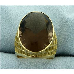 20ct Smokey Topaz Statement Ring in 18K Yellow Gold