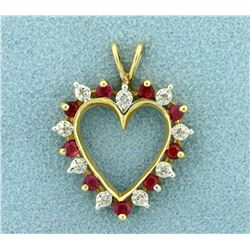 Ruby and Diamond Heart Pendant in 14K Yellow Gold