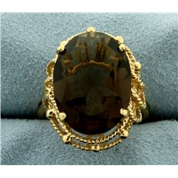 15ct Smokey Topaz Statement Ring in 14K Yellow Gold