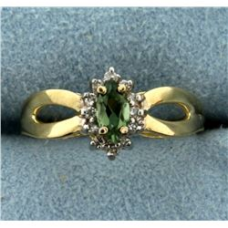 Diamond and Peridot Ring in 10K Yellow Gold