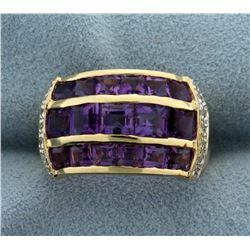 Invisible Set Amethyst and Diamond Ring in 14K Yellow Gold