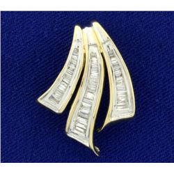1/2 ct TW Baguette Diamond Slide or Pendant in 14K Yellow and White Gold