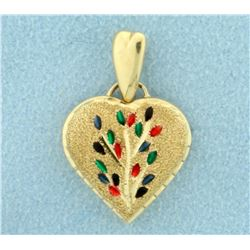 Heart Pendant with Enamel Flower Design in 14K Yellow Gold