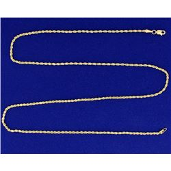 22 1/2 inch Rope Style Neck Chain in 14k Yellow Gold
