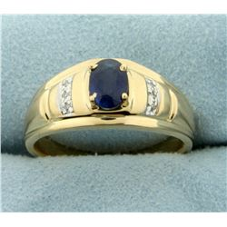 1ct Sapphire and Diamond Ring in 14K Yellow and White Gold