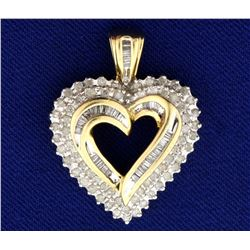Diamond Heart Pendant in 14K Yellow and White Gold