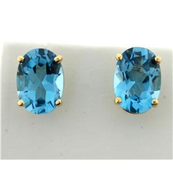 12ct TW Swiss Blue Topaz Earrings in 14K Yellow Gold