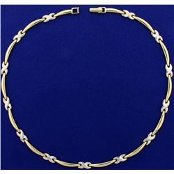 16 Inch Designer Necklace in 14K Yellow and White Gold
