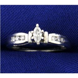 Marquise and Round Diamond Engagement Ring in 14K White Gold
