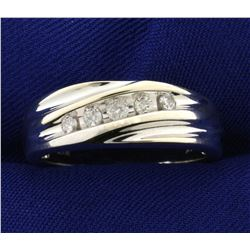 1/4ct TW Men's Anniversary or Wedding Diamond Ring Band in 14K White Gold