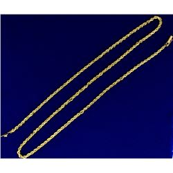 24 Inch Rope Style Neck Chain in 14K Yellow Gold