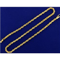 18 1/2 Inch Unique Rectangular Link Rope Style Neck Chain in 14K Yellow Gold
