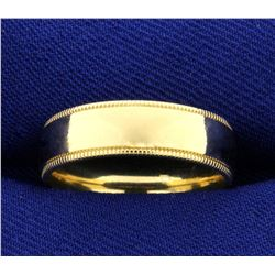 Beaded Edge Wedding Band Ring in 10K Yellow Gold