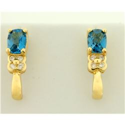 2ct TW Swiss Blue Topaz and Diamond Earrings in 14K Yellow Gold