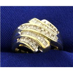 2/3ct TW Baguette and Round Diamond Ring in 10K Yellow Gold